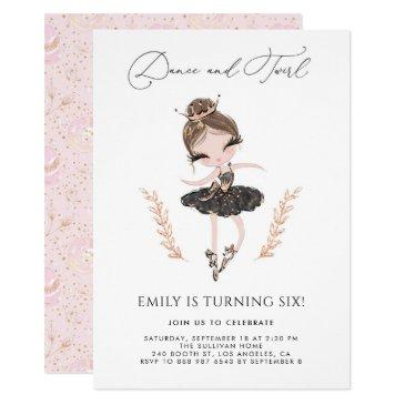girl ballerina in black dress glitter birthday invitations