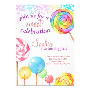 girl birthday invitation candy sweet celebration