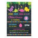 girl dinosaur birthday party pink roar chalkboard invitations
