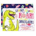 girl dinosaurs and donuts birthday invitation