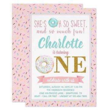 girl donut 1st birthday party invitation