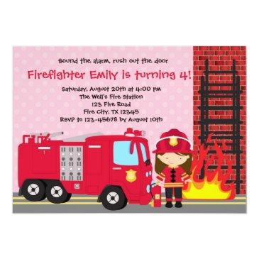 girl firefighter birthday invitation fireman truck