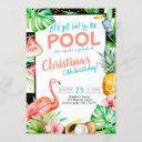 girl pool party birthday tropical flamingo invitation
