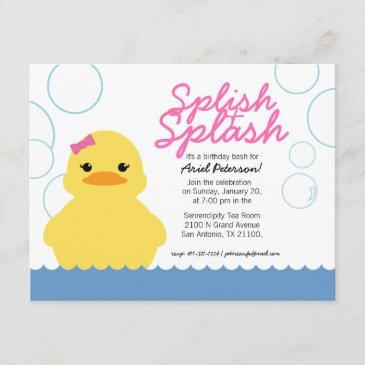 girl rubber ducky birthday party pink invitation