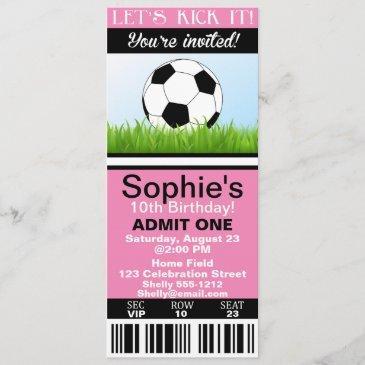girl soccer ticket birthday invitation customize