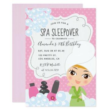 girl spa sleepover birthday party invitations