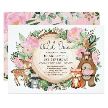 girl wild one pink floral woodland 1st birthday invitation
