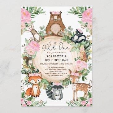 girl wild one pink floral woodland 1st birthday invitation