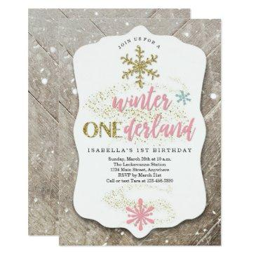 girl winter onederland themed first birthday party invitation