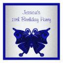 girls 13th birthday cobalt blue butterfly silver invitation