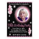 girls 13th birthday photo invitation
