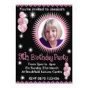 girls 9th birthday photo invitations