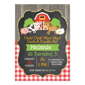 girls barnyard chalkboard birthday invitations