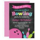 girl's bowling birthday party - chalkboard invitation