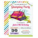 girls camp out glamping birthday party invitation