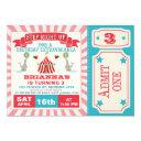 girls circus ticket birthday party invitations