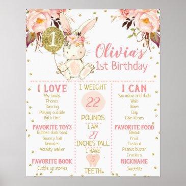 girl's floral bunny 1st birthday milestone poster