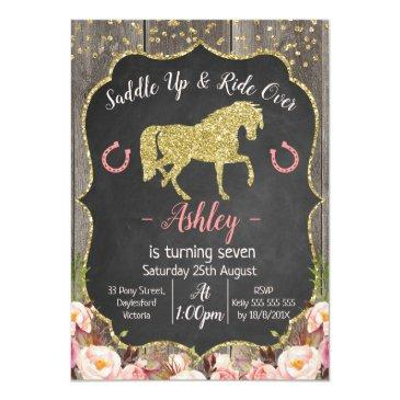 girls floral glitter horse birthday invitations
