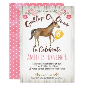 girls floral horse birthday party invitations