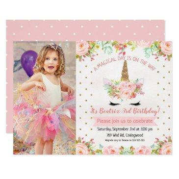 girls floral unicorn birthday invitations