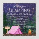 girls glamping birthday party invitation