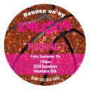 girls glitter basketball birthday, pink bball invitation