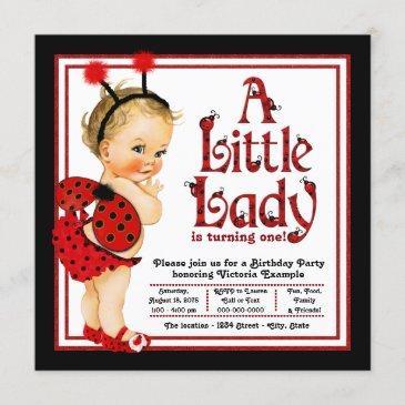 girls ladybug 1st birthday party invitations