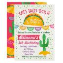 girls let's taco 'bout a party birthday invitations