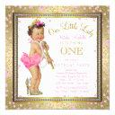 girls little lady 1st birthday party pink gold invitations