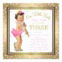 girls little lady 3rd birthday party pink gold invitations