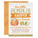 girls little pumpkin 1st birthday invitation