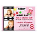 girls movie birthday party invitations