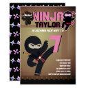 girls ninja movie star warrior cartoon party invitation
