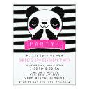 girl's pink and black cute panda birthday party invitations