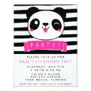 girl's pink and black happy panda birthday party invitations