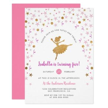 girl's pink and gold ballerina pirouette birthday invitations