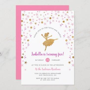 girl's pink and gold ballerina pirouette birthday invitation