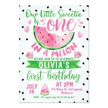 Small Girls Pink Green One In A Melon 1st Birthday Invitation Front View