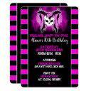 girls pink skull birthday invitations