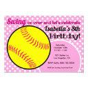 girl's pink softball birthday party invitation