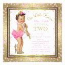 girls princess 2nd birthday party pink gold invitations