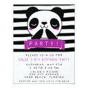 girl's purple and black cute panda birthday party invitation