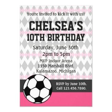girl's soccer party custom birthday invitation