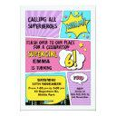 girls superhero 6th birthday invitation