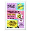 girls superhero 8th birthday invitation