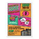 girl's superhero invitation party pink comic