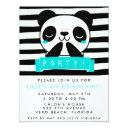 girl's teal and black cute panda birthday party invitation