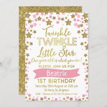 girls twinkle little star birthday invitation