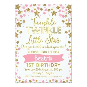 Small Girls Twinkle Little Star Birthday Invitations Front View