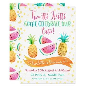 girls two-tti frutti 2nd birthday invitations